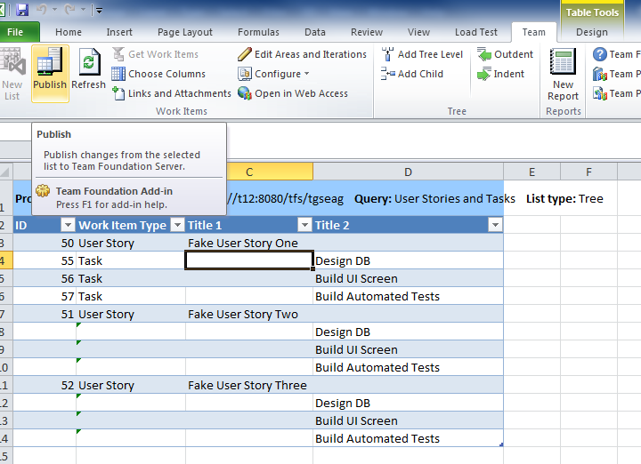 Adding Tasks to a User Story in Bulk with Excel 9